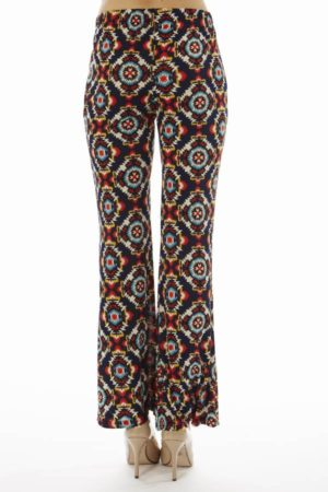 Navy Abstract Wide Leg Pants