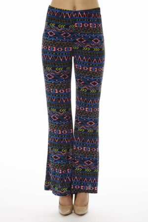 Navy Tribal Wide Leg Palazzo Pants