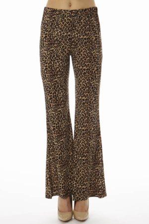 Leopard Print Wide Leg Palazzo Pants