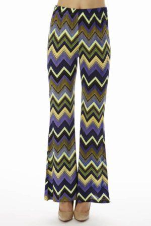 Women's Purple Zig-Zag Palazzo Pants