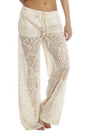 Cream Wide Leg Crochet Pants
