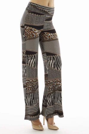 High Waist Houndstooth Animal Patch Palazzo Pants
