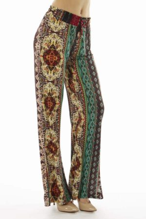 Boho Hippie Tribal Print Flare Pants