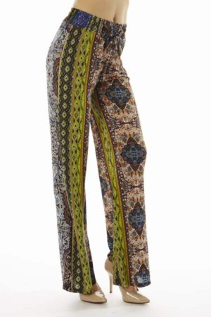 Boho Tan Tribal Print Flare Pants