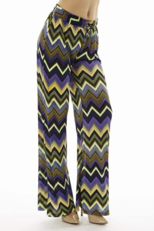 Vibrant Chevron Wide Leg Flare Pants