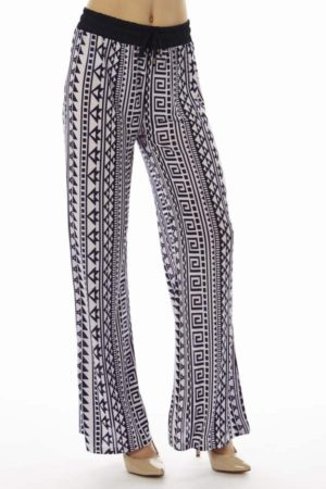 Geometric Tribal Print Flare Leg Pants