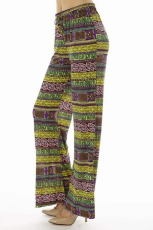 Vibrant Yellow Tribal Wide Leg Palazzo Pants