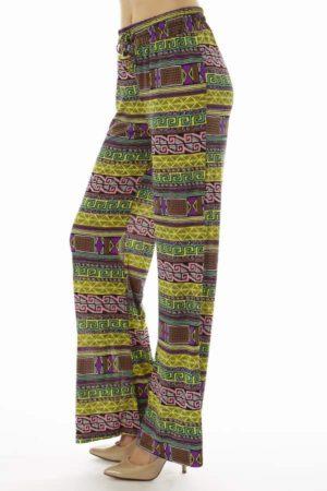 Vibrant Yellow Tribal Wide Leg Palazzo Pants