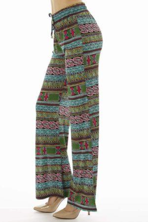Turquoise Vibrant Tribal Flare Leg Palazzo Pants