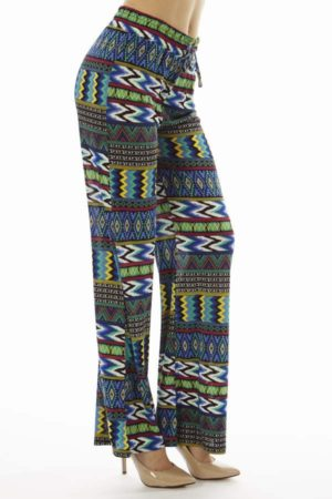 Blue and Green Dyed Tribal Chevron Palazzo Pants