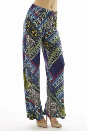 Vibrant Tribal Patch Wide Leg Palazzo Pants