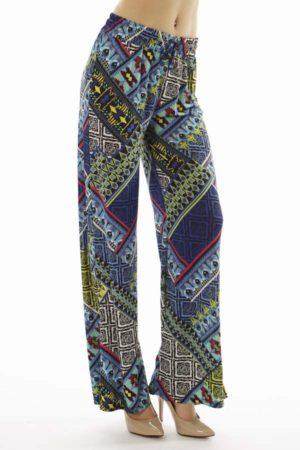 Vibrant Tribal Patch Wide Leg Palazzo Pants