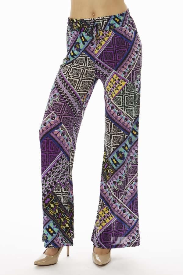 Purple Patches Tribe Flare Leg Palazzo