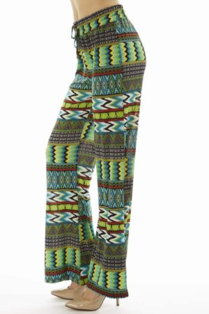 Tribal Chevron Print Evergreen Palazzo Pants