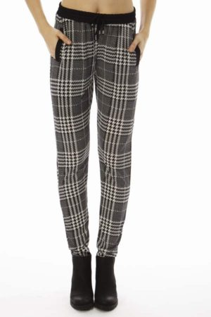 Black Plaid Patched Jogger Pants