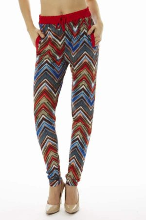 Fiery Red Chevron Soft Pants