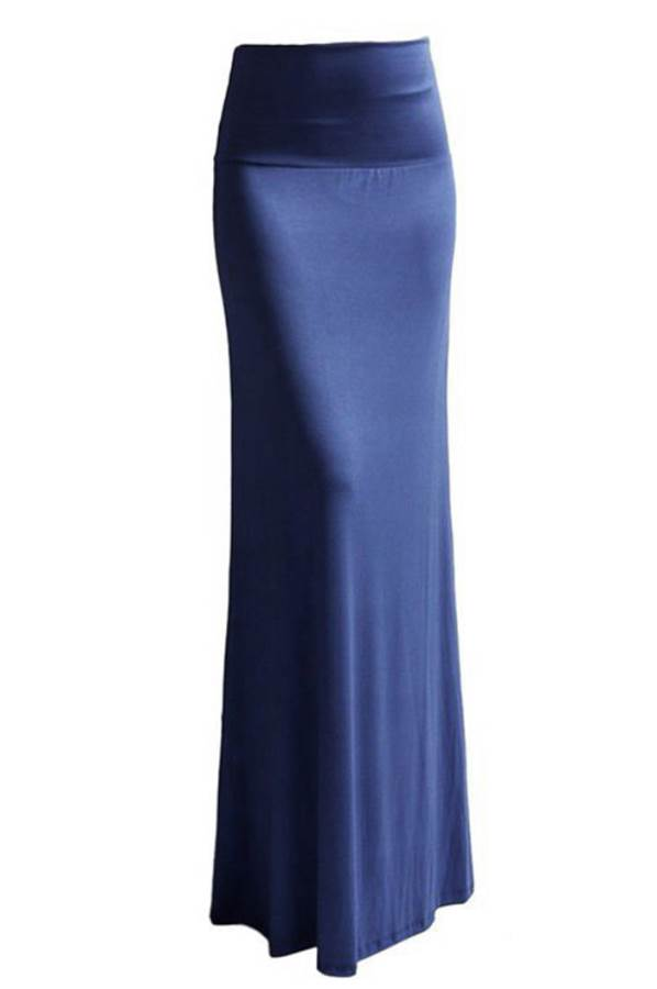 Fold Over Denim Blue Maxi Skirt