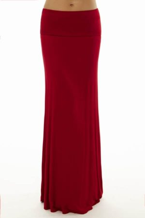 Fold Over Simmering Red Maxi Skirt