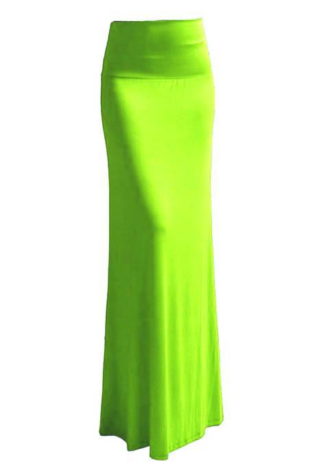 Bold Apple Green Maxi Skirt