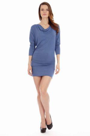 Denim Blue Cowl Neck Dress