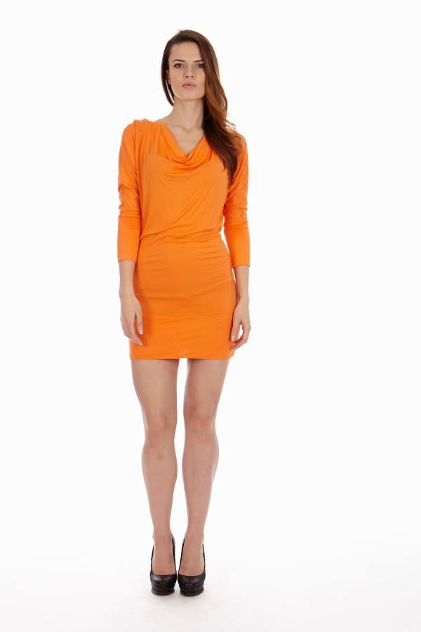 Cowl Neck Orange Dress