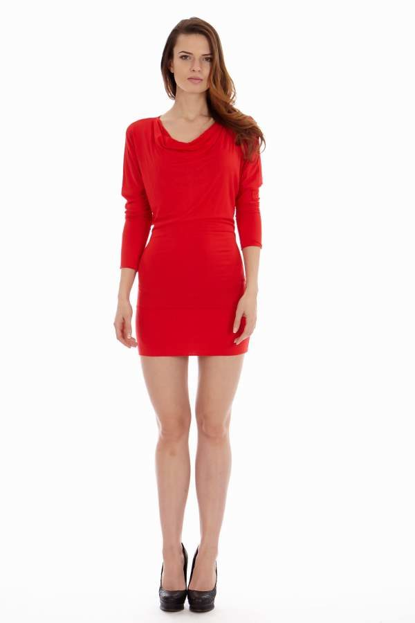 Red Tight Cowl Neck Dress