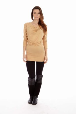 Cowl Neck Tan Dress