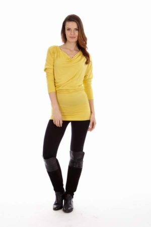 Tight Yellow Cowl Neck Dress