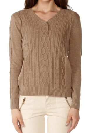 V-neck Camel Pointelle Sweater