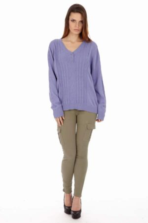 Button-up V- Neck Lilac Sweater