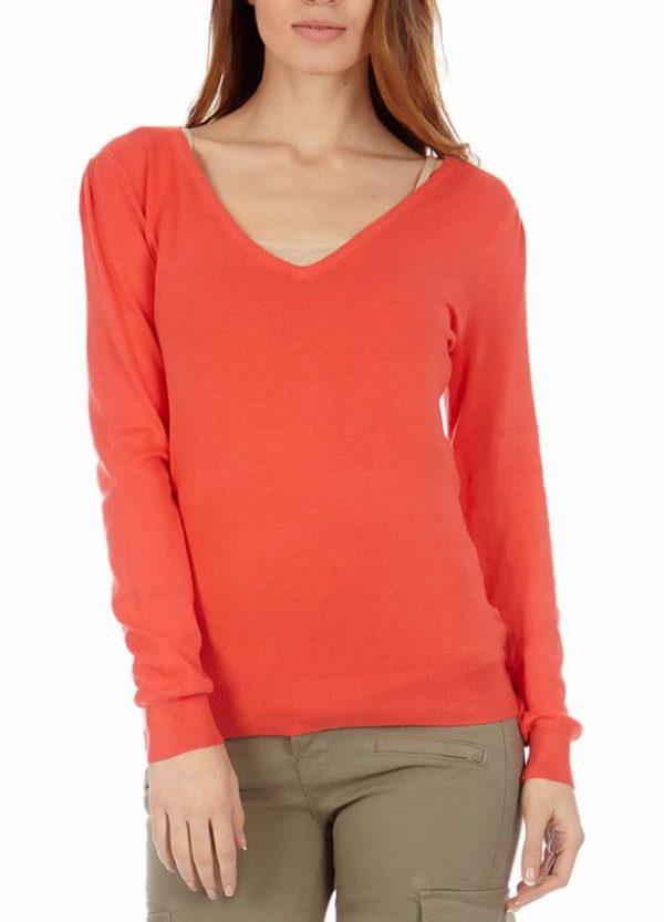 Coral Cotton V-Neck Sweater