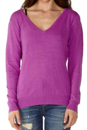 Long Sleeve Cotton Purple Sweater