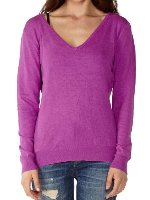 Long Sleeve Cotton Purple Sweater