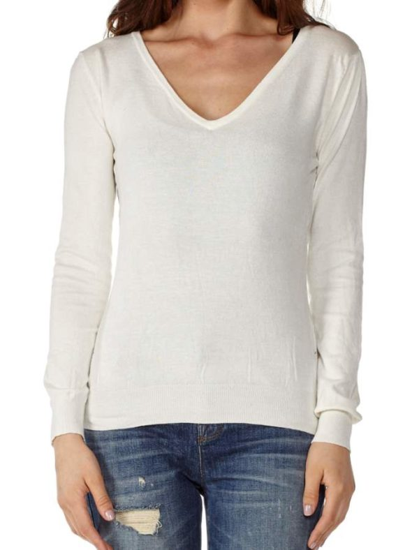 V-Neck White Cotton Long Sleeve Top