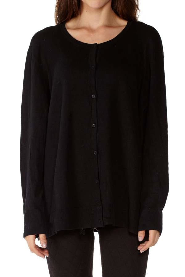 Black Button Down Knitted Cardigan