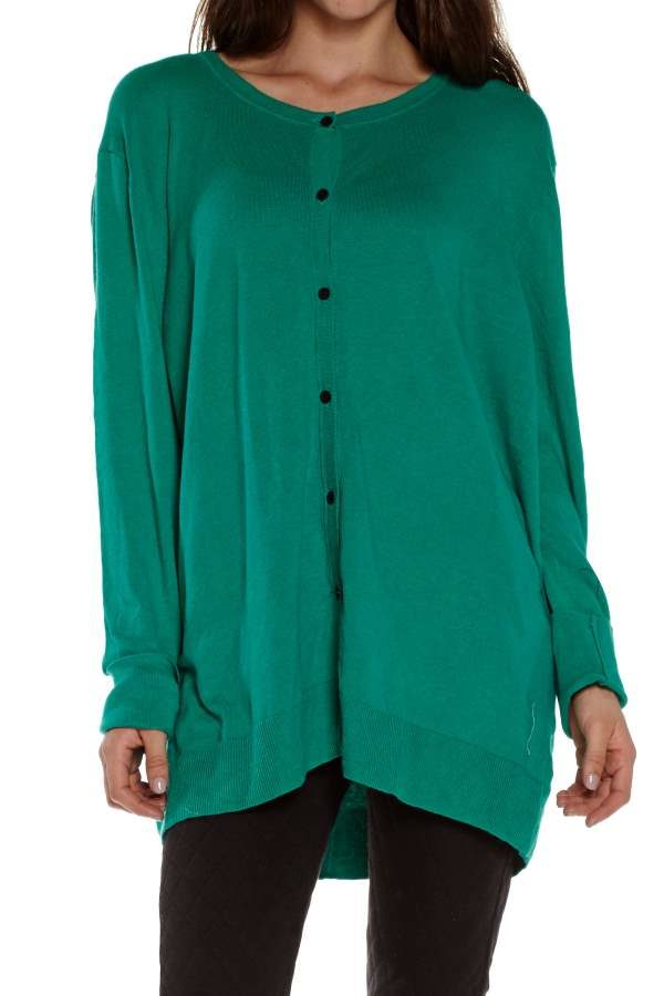 Button Down Long Green Knitted Cardigan