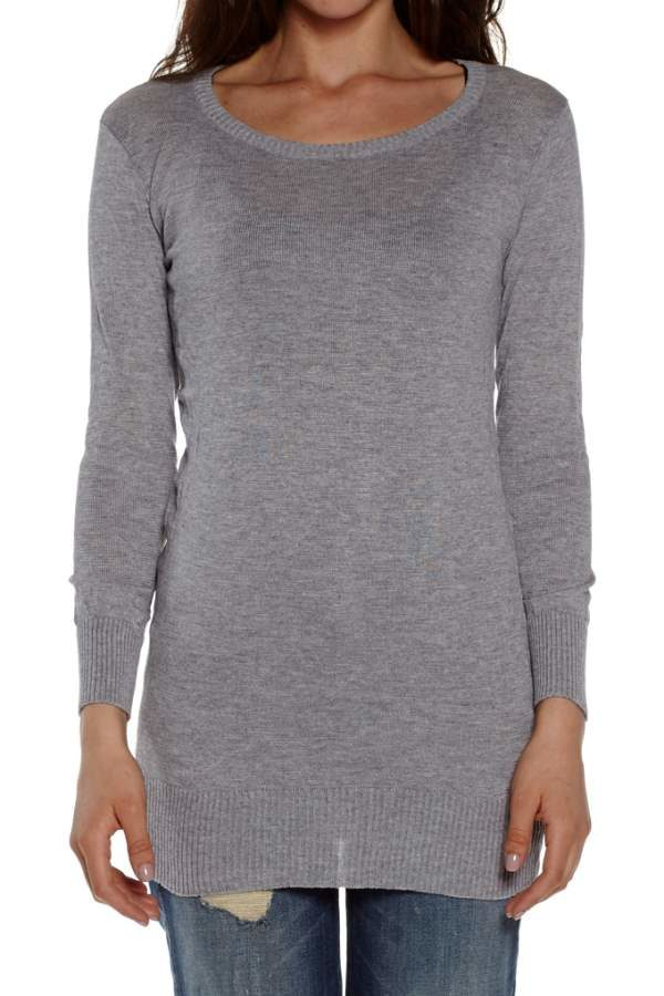 Light Grey Crew Neck Long Sleeve Tunic