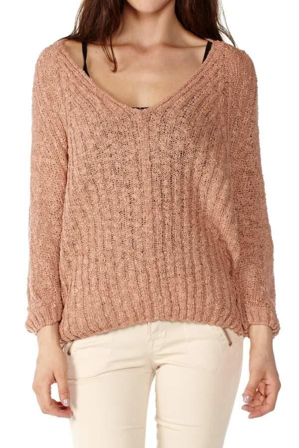 Deep V-neck Knit Peach Sweater