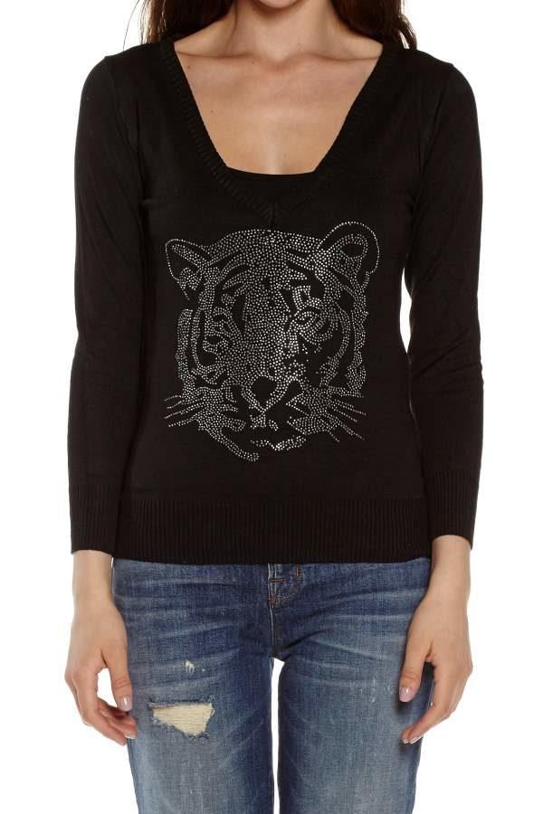 Black Tiger Face V-Neck Long Sleeve Top