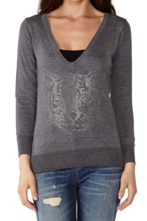 Wild Life Dark Grey V-Neck Sweater