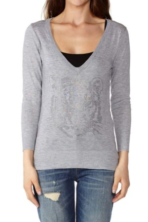 Ferocious Tiger Light Grey Deep V-neck