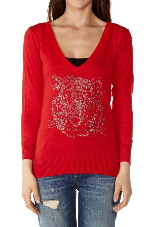 Red V-Neck Tiger's Blood Sweater
