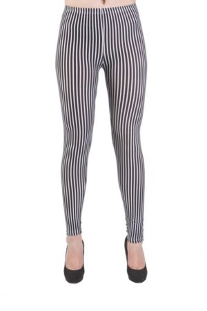 Black & White Vertical Striped Ankle Leggings