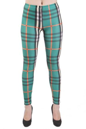 Green Plaid Microfiber Leggings