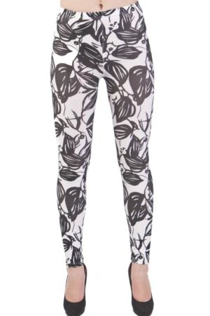 Bold Leaf Print Black Microfiber Leggings
