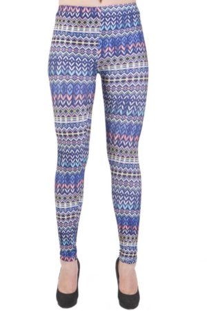 Microfiber Ankle Length Indigo Tribal Leggings