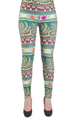 Jade Tribal Microfiber Footless Leggings