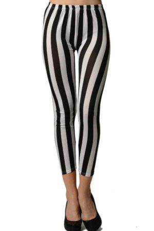 Black/White Vertical Stripes Ankle Length Leggings