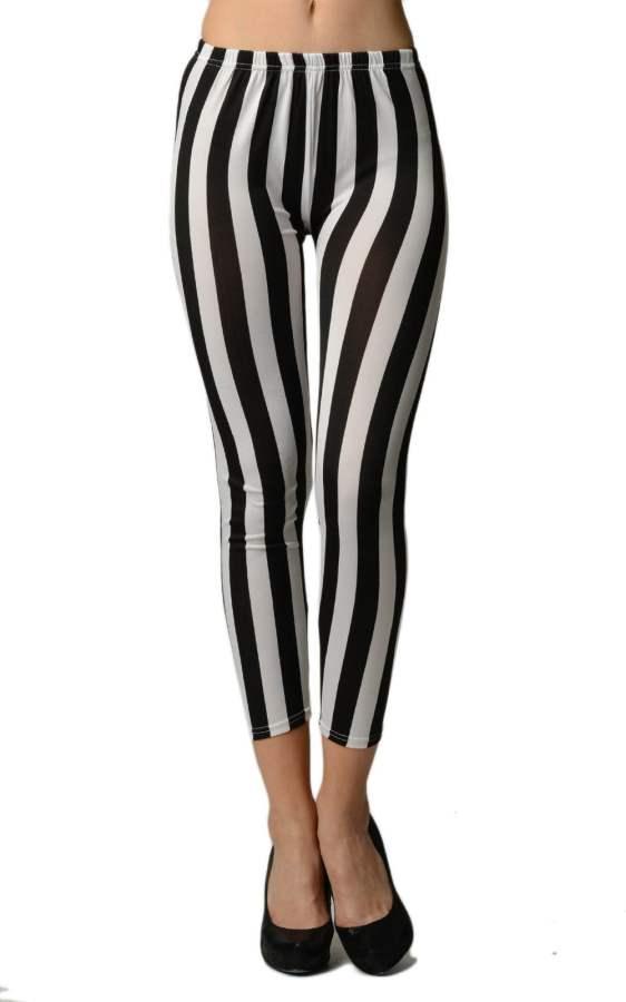 Black/White Vertical Stripes Ankle Length Leggings