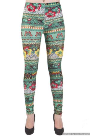 Flowery Tribal Ankle Length Jade Legging
